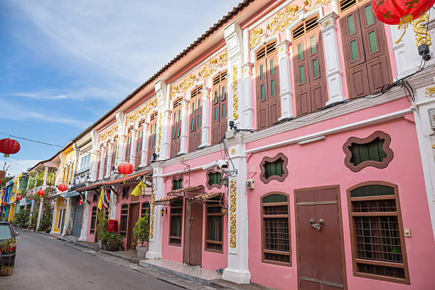 the old town phuket chino portuguese style - phuket stock photos and pictures