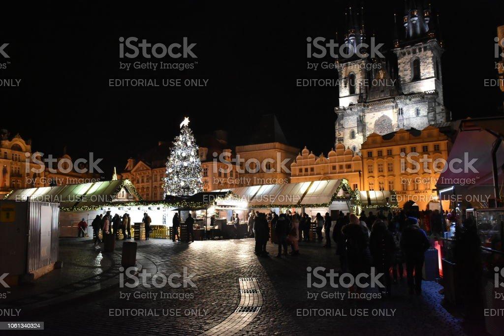 Prague, Czech Republic - December 2017: People visit the traditional...