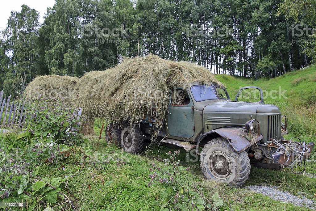 The old truck with hay royalty-free stock photo