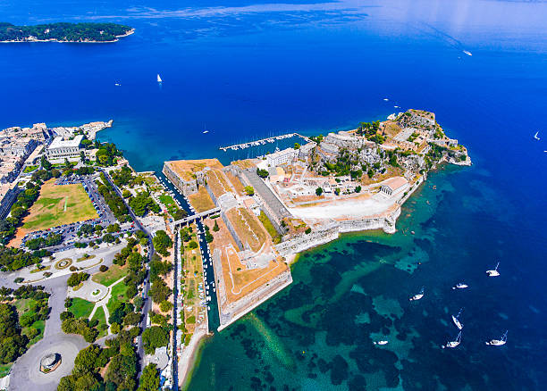 The old venetian fortress in Corfu town, the capital of stock photo