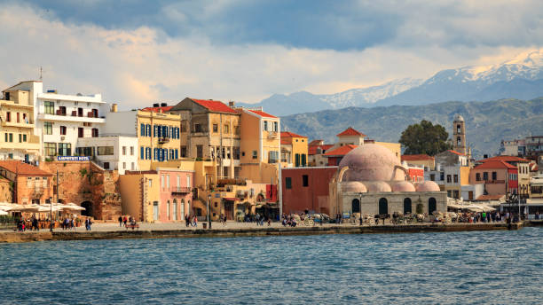 The old Venetian harbour in Chania, Crete stock photo