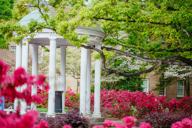 The Old Well at the University of North Carolina at Chapel Hill in the Spring stock photo
