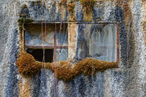 The old window in the wall. stock photo