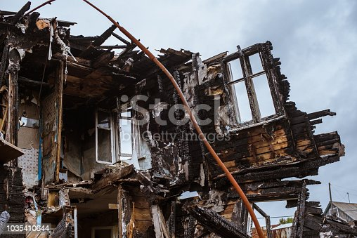 1015604978 istock photo the old wooden burned-down house a view from inside 1035410644