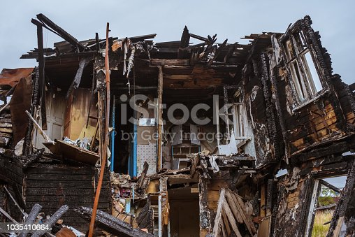 1015604978 istock photo the old wooden burned-down house a view from inside 1035410664