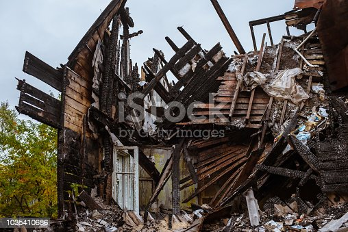 1015604978 istock photo the old wooden burned-down house a view from inside 1035410686