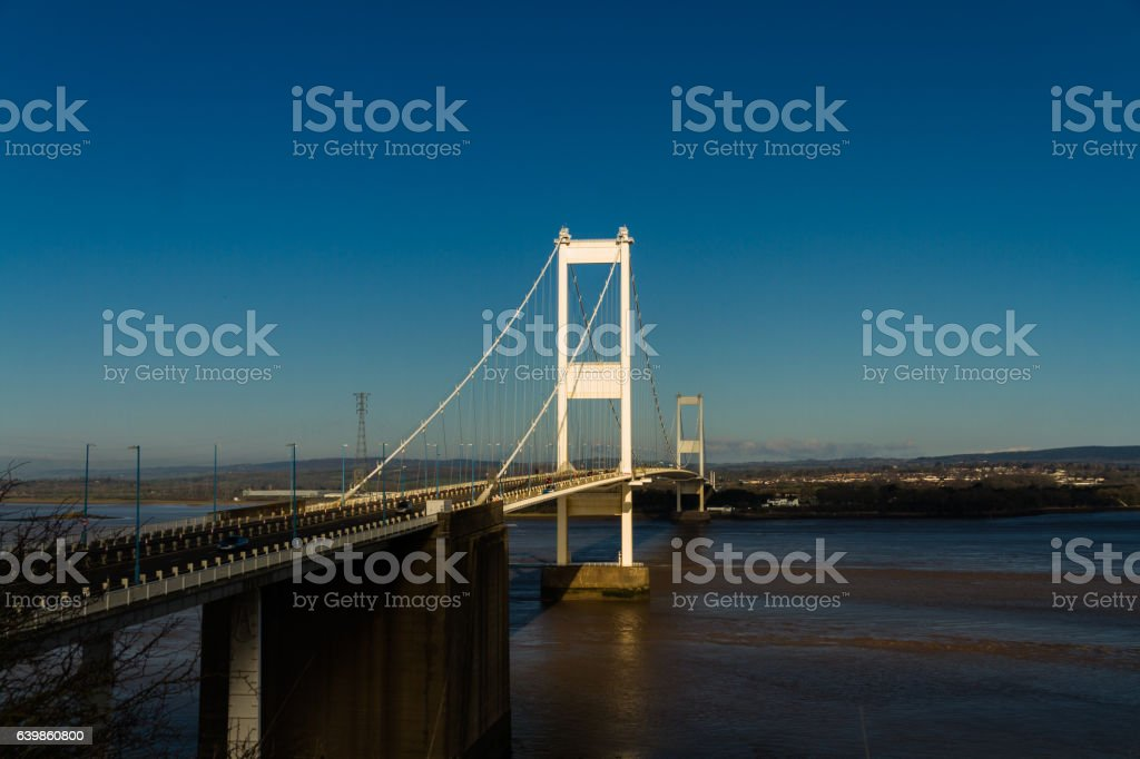 The older Severn Crossing, suspension bridge stock photo