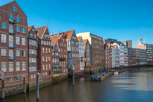 The oldest and historic brick houses on Nikolaifleet in Hamburg