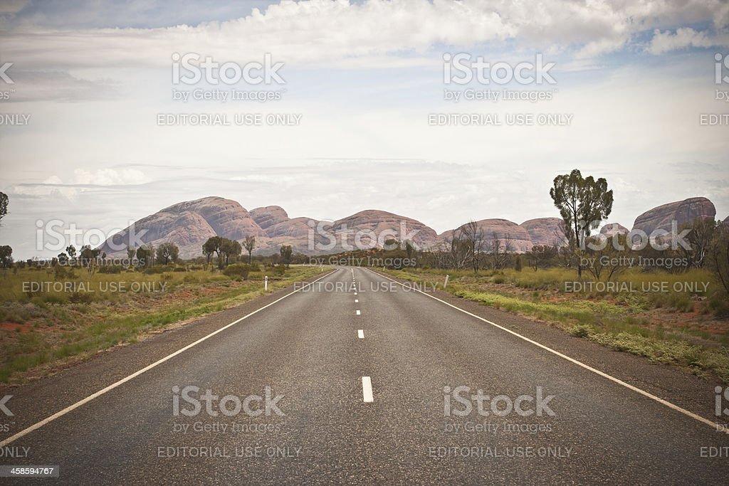 The Olgas/Kata Tjuta, Desert Road, Australia royalty-free stock photo