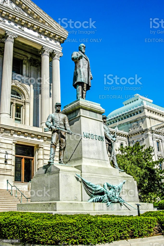 The Oliver P. Morton memorial outside the Indiana State Capitol building in Indianapolis, IN stock photo