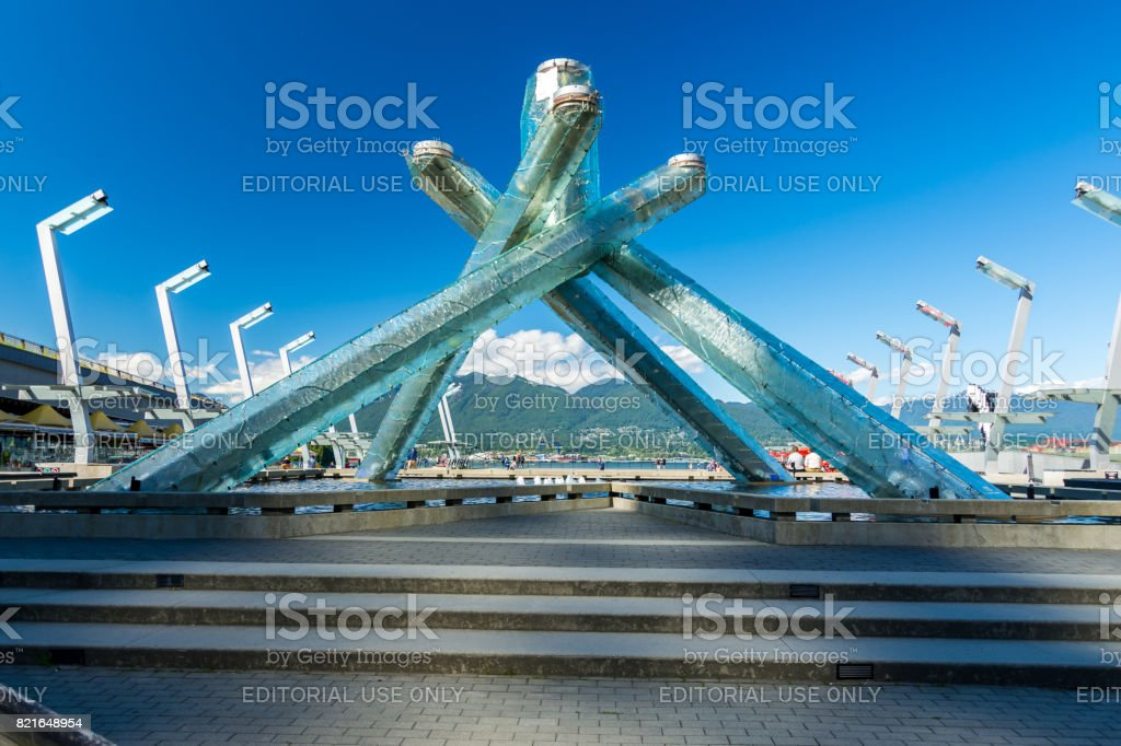 The Olympic cauldron as seen near waterfront and Harbour center on a sunny afternoon stock photo