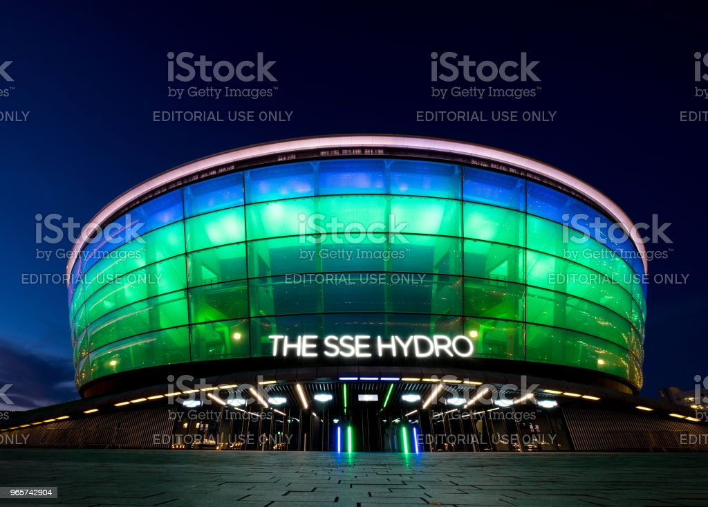 The one of the World's Busiest Arenas 'SSE Hydro' is a multi-purpose indoor arena night lights view in Glasgow, stock photo