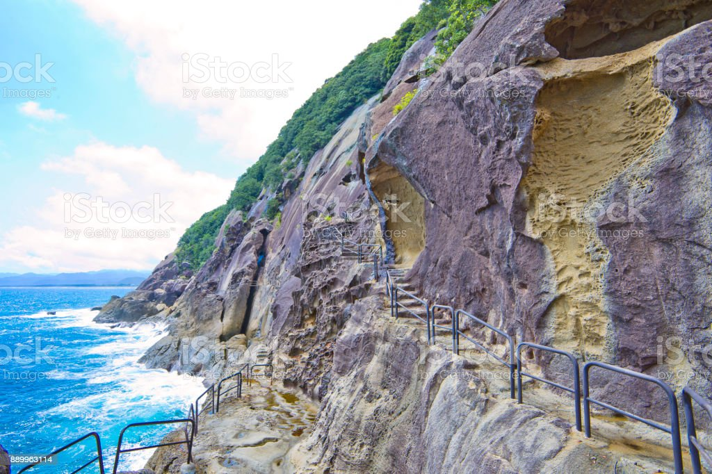 The Onigajo Rocks were believed to be the dwellings of demons, that's located in Kumano, Mie prefecture, Japan. stock photo