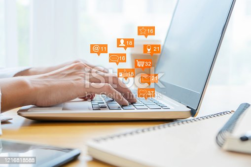 1127070103 istock photo The online communication icons 1216818588