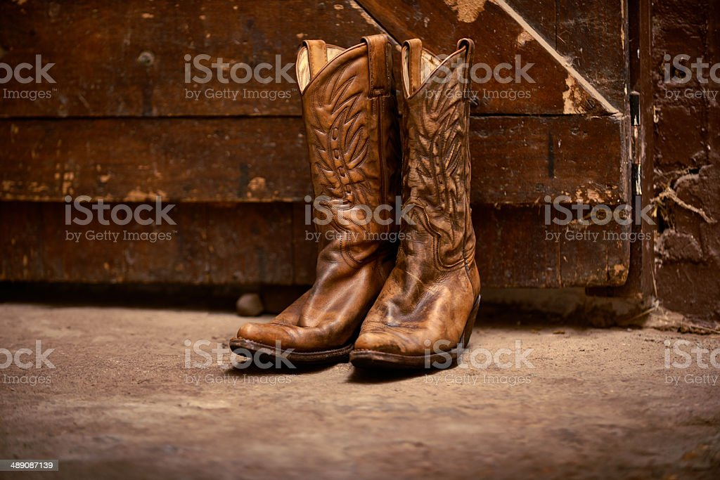 The only footwear for a cowboy stock photo
