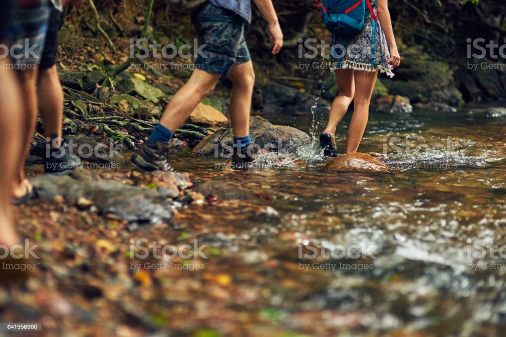 The only thing better than exploring is exploring with friends stock photo