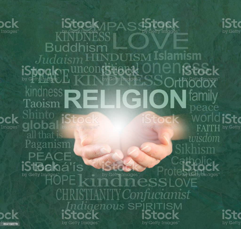 The only true religion is KINDNESS stock photo