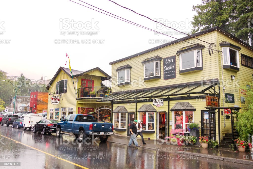 The Opa Sushi Restaurant at Cow Bay Road, Prince Rupert, BC. stock photo