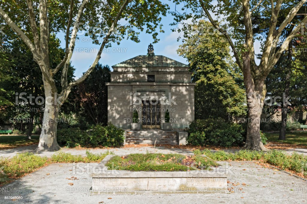 The Opel mausoleum at the old Ruesselsheim cemetery, Germany stock photo