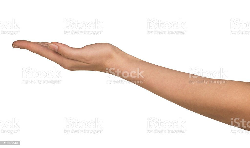 The open hand of a young woman stock photo