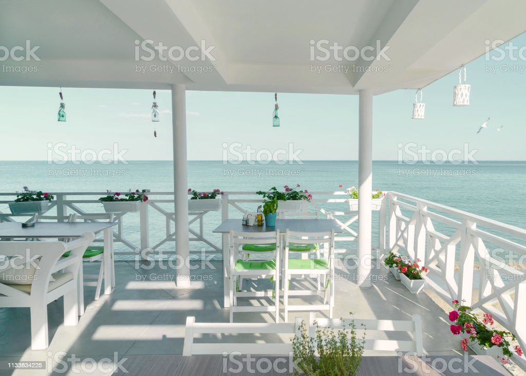 The Open Summer Terrace Restaurant On The Beach Beautiful Interior In White Bright Background Ideal For Any Design Stock Photo Download Image Now Istock