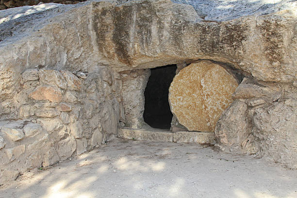 The open tomb of Jesus in Jerusalem Outside the tomb of Jesus in Jerusalem. tomb stock pictures, royalty-free photos & images