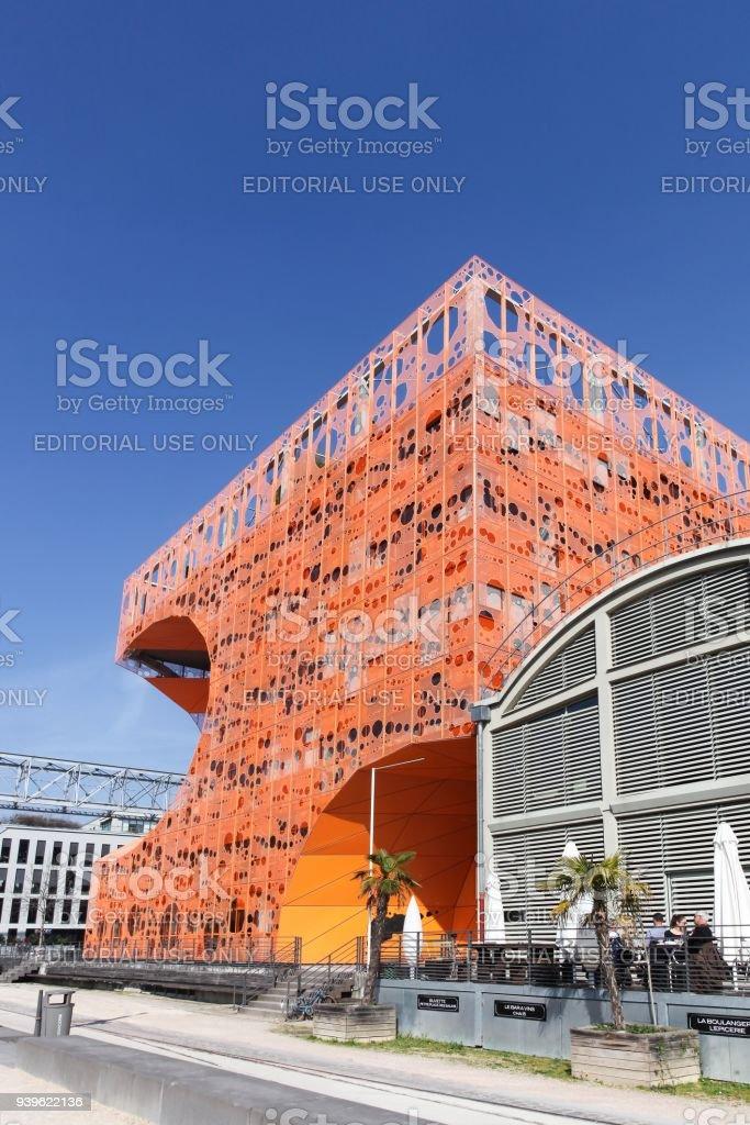The orange cube building in Lyon, France stock photo