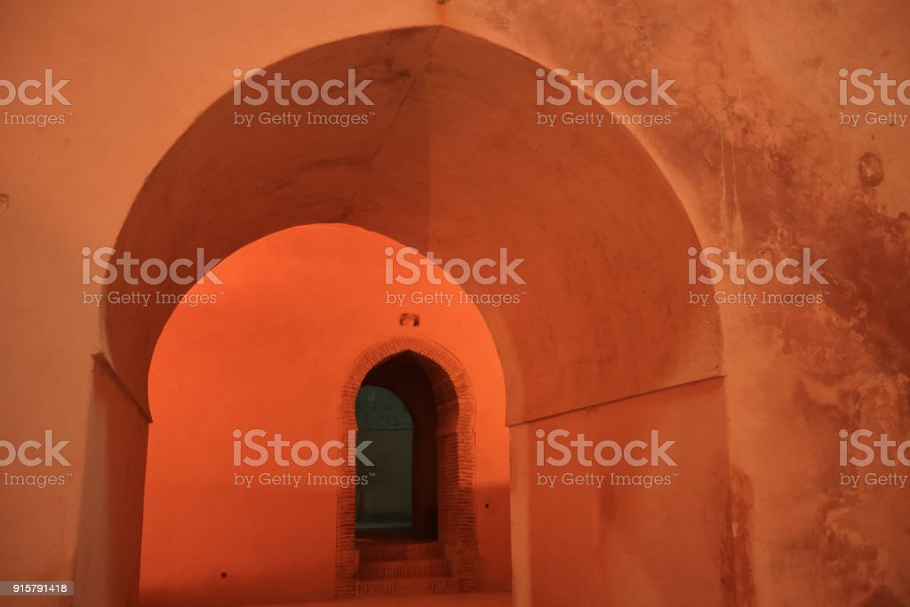 The orange oriental arch morocco style archway and the gate inside ,...