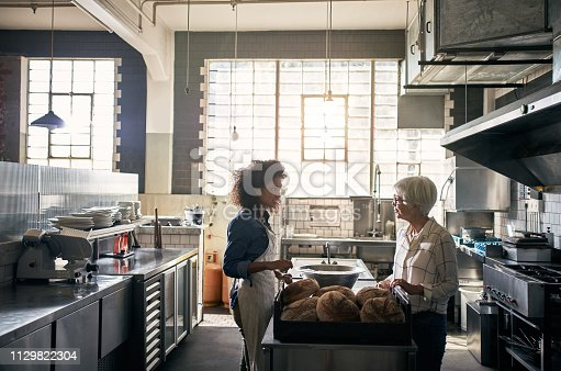Cropped shot of two female coffee shop employees working in the kitchen of their cafe
