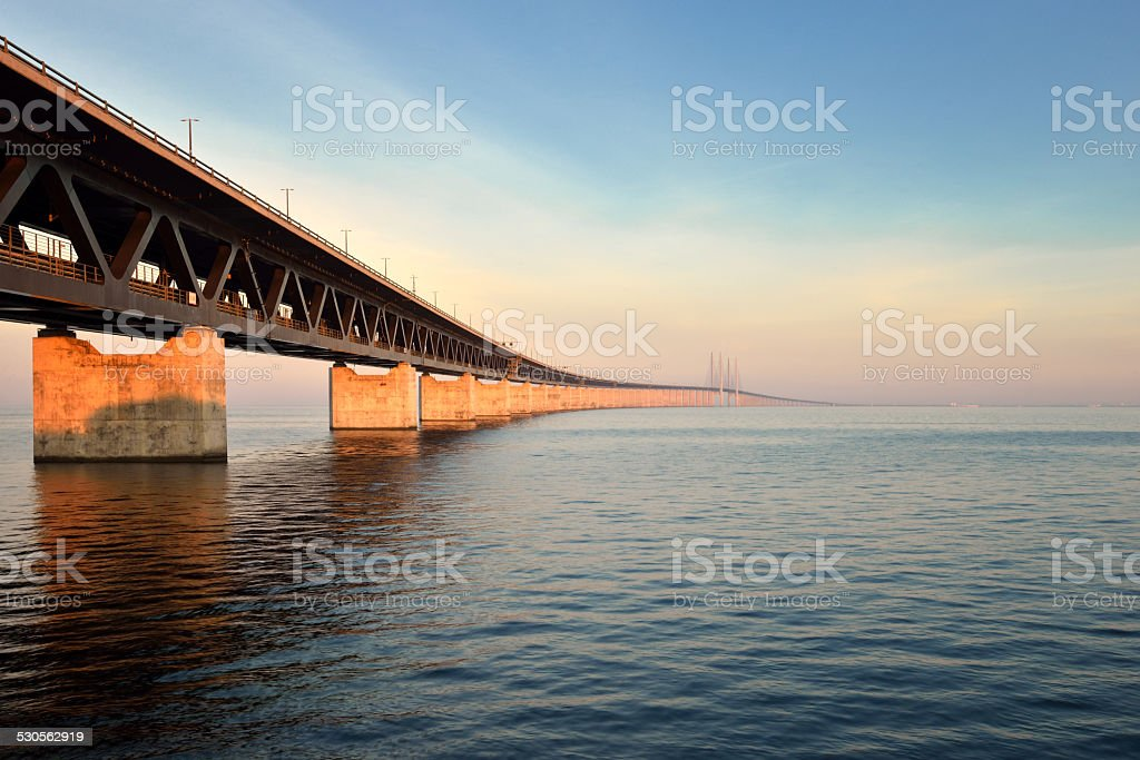 the Oresund Bridge,Malamo, Sweden stock photo
