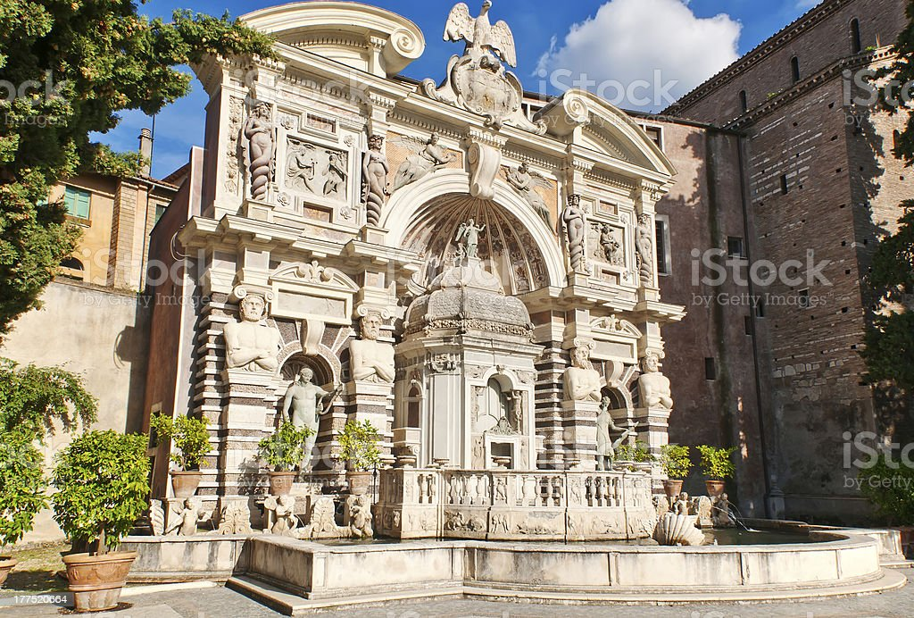 The Organ Fountain in villa d'Este royalty-free stock photo
