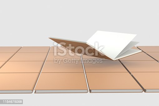 istock The organized hard cover notebooks, 3d rendering. 1154675058