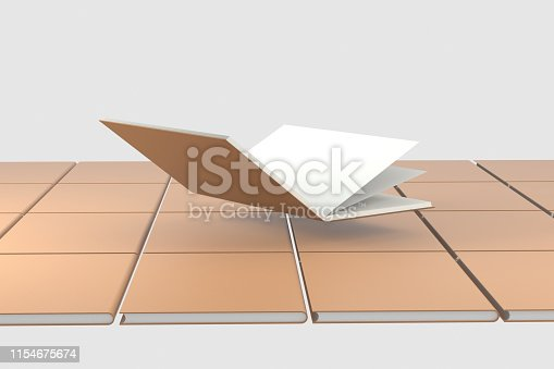 621728016istockphoto The organized hard cover notebooks, 3d rendering. 1154675674