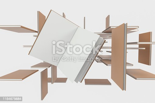 621728016istockphoto The organized hard cover notebooks, 3d rendering. 1154675684
