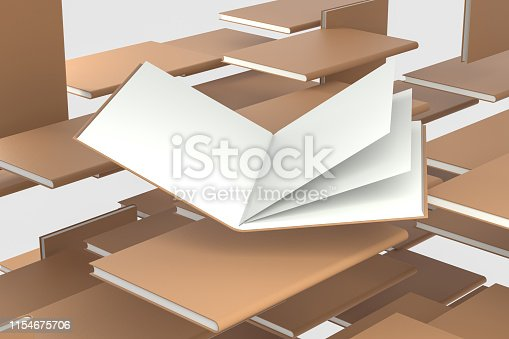 621728016istockphoto The organized hard cover notebooks, 3d rendering. 1154675706