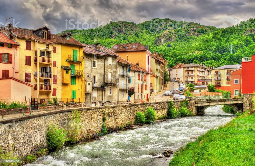The Oriege river in Ax-les-Thermes - France, Midi-Pyrenees stock photo