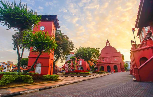 Das orientalische rote Gebäude in Melaka, Malakka, Malaysia. – Foto