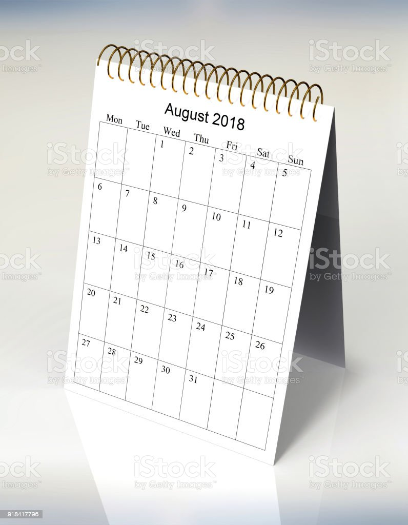 the original calendar for August, 2018. The beginning of week – Monday stock photo