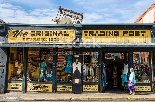 Santa Fe, USA - July 30, 2015: The original trading post antique building storefront selling Native American goods in downtown