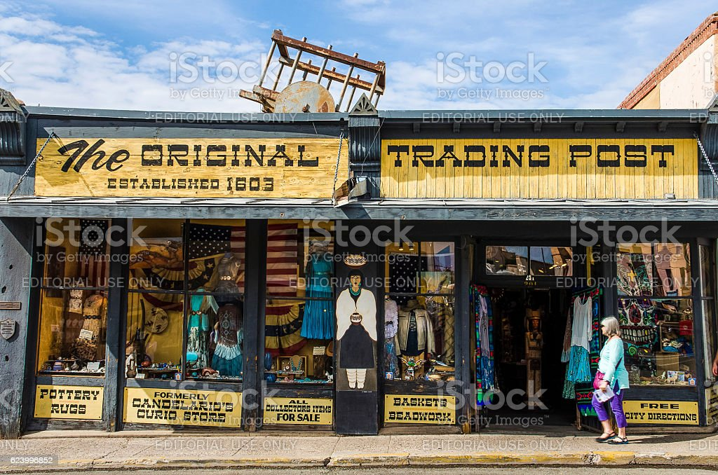 The original trading post antique building stock photo