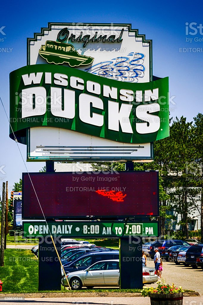 The original Wisconsin Ducks sign in the Dells WI stock photo