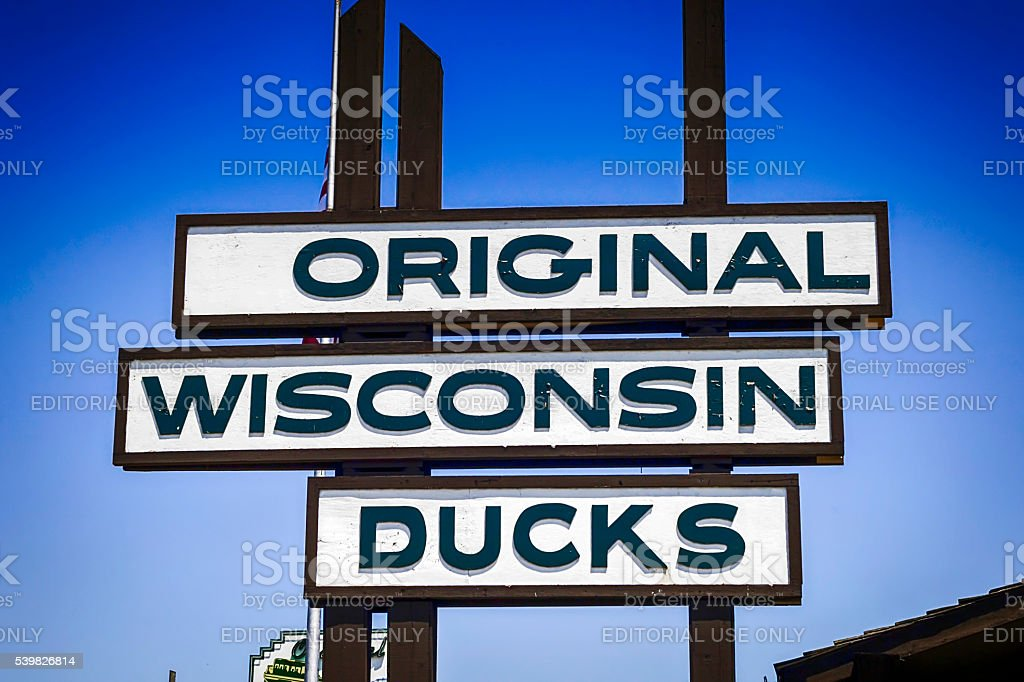 The original Wisconsin Ducks tour sign in the Dells WI stock photo