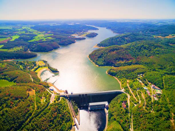 The Orlik Reservoir on Vltava River is largest hydroelectric dam in Czech Republic. stock photo
