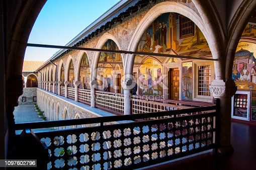 The Kykkos monastery terrace decorated with beautiful icons, depicting the life of the saints