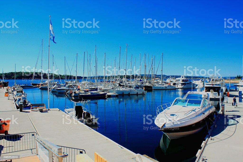 The Oslo bay, Radhuset (city hall), Norway royalty-free stock photo