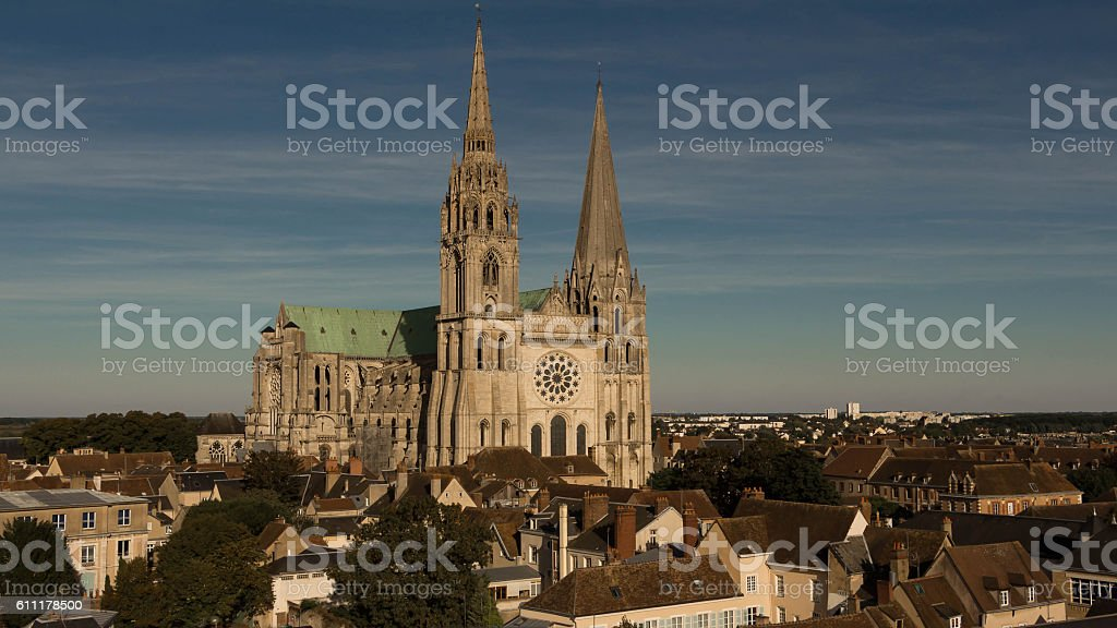 The Our Lady of Chartres cathedral, France. stock photo
