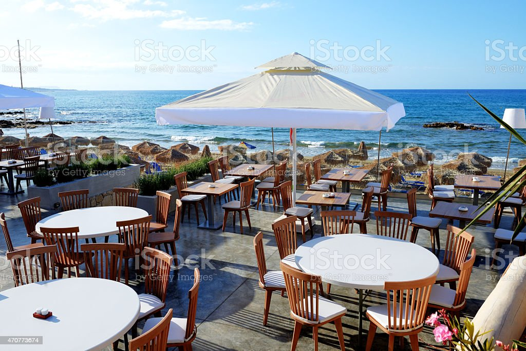 The Outdoor Restaurant Near Beach At Luxury Hotel Crete Greece Stock Photo Download Image Now Istock