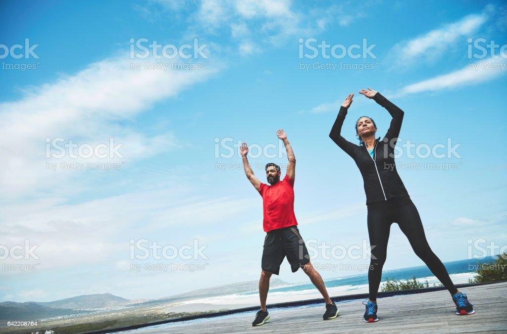 The outdoors enhances yoga stock photo