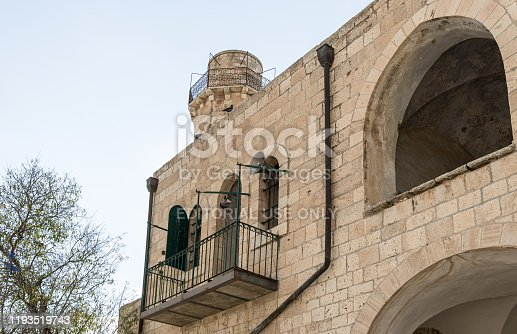 Jerusalem, Israel, December 07, 2019 : The outer wall of the mosque located on the territory of the grave of the prophet Samuel on Mount of Joy near Jerusalem in Israel