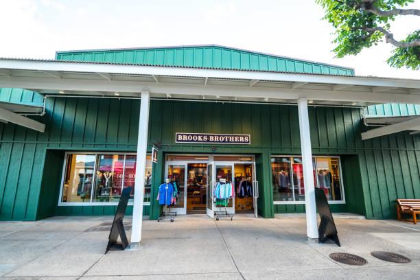 The Outlets of Maui shopping area in Lahaina, Maui, Hawaii, USA stock photo